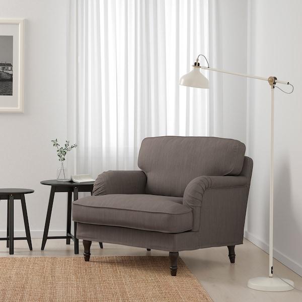 STOCKSUND 斯托桑 单人沙发/扶手椅, 诺霍佳 米灰色/黑色/原木色