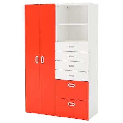 STUVA 斯多瓦 / FRITIDS 福利蒂德斯 衣柜, 白色/红色, 120x50x192 厘米