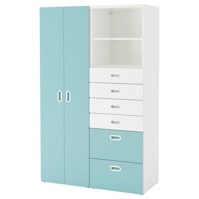 STUVA 斯多瓦 / FRITIDS 福利蒂德斯 衣柜, 白色/浅蓝色, 120x50x192 厘米