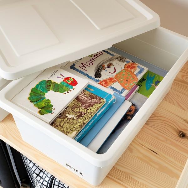 索克比 附盖储物盒, 白色, 38x25x15 厘米