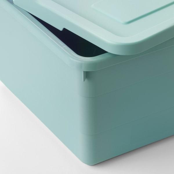 索克比 附盖储物盒, 浅蓝色, 19x26x15 厘米