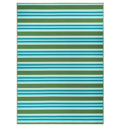 索玛 2020 平织地毯,室内/户外, 条形图案/绿色/白色, 170x240 厘米