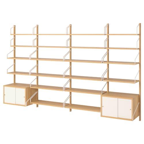 斯瓦纳 壁装搁板组合 竹/白色 297 厘米 35 厘米 176 厘米