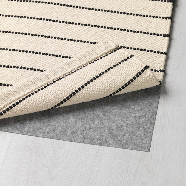 特斯勒 平织地毯, 条纹 白色/黑色, 80x150 厘米