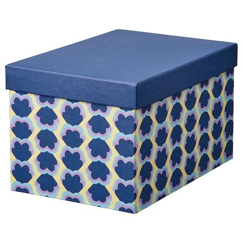 希纳 附盖储物盒 蓝色/图案 25 厘米 18 厘米 15 厘米