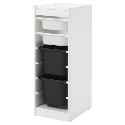 TROFAST 舒法特 储物组合带盒, 白色/白色 黑色, 34x44x94 厘米