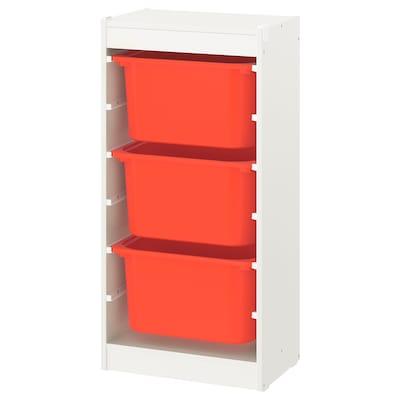 TROFAST 舒法特 储物组合带盒, 白色/橙色, 46x30x94 厘米