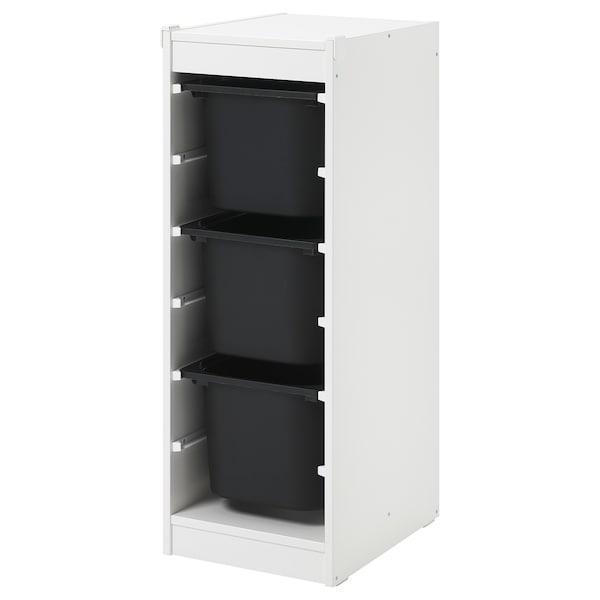 TROFAST 舒法特 储物组合带盒, 白色/黑色, 34x44x94 厘米