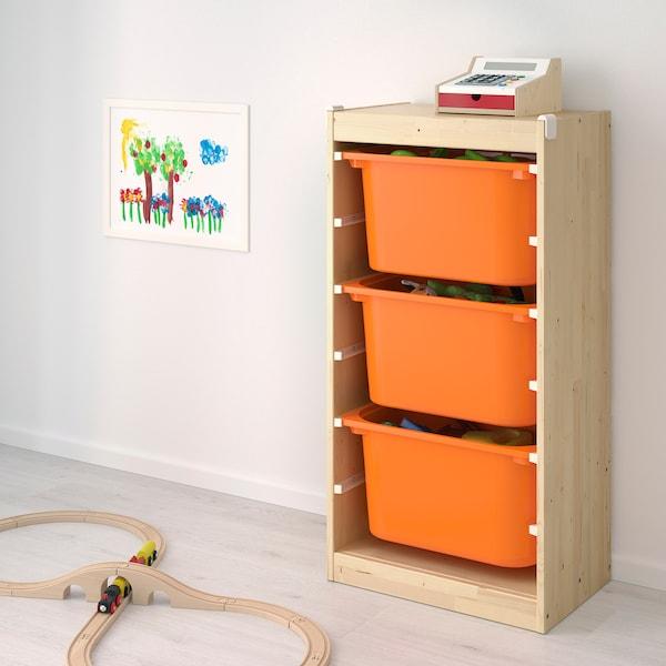 舒法特 储物组合带盒 白漆松木/橙色 46 厘米 30 厘米 91 厘米