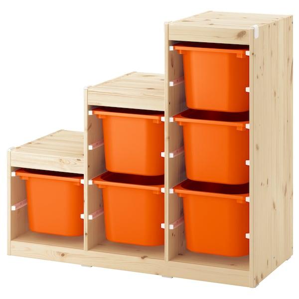 舒法特 储物组合 白漆松木/橙色 99 厘米 44 厘米 91 厘米