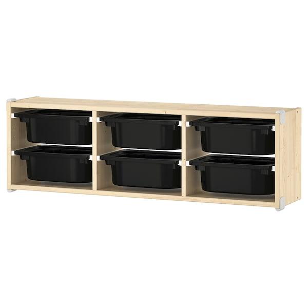 舒法特 壁式储物装置 白漆松木/黑色 99 厘米 21 厘米 30 厘米