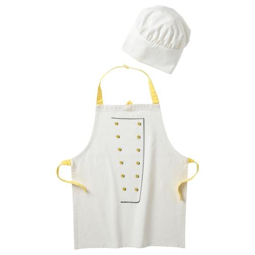托普罗卡 儿童围裙带厨师帽, 白色/黄色