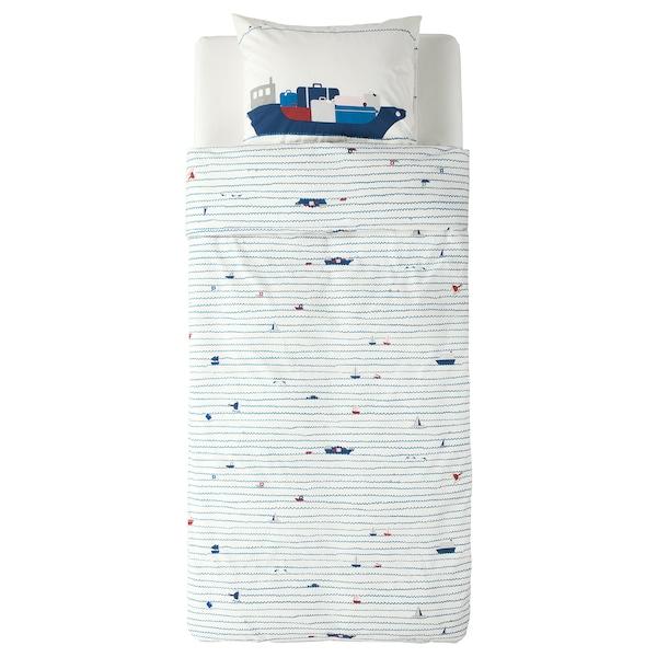 乌普托格 被套和枕套 波浪/船只图案/蓝色 200 厘米 150 厘米 50 厘米 80 厘米