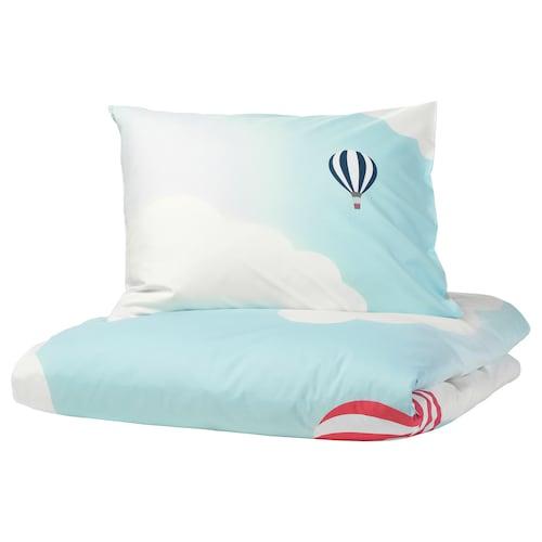乌普托格 被套和枕套 热气球图案/蓝色 200 厘米 150 厘米 50 厘米 80 厘米