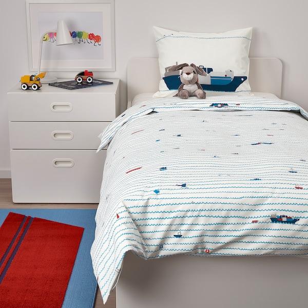 UPPTÅG 乌普托格 被套和枕套, 波浪/船只图案/蓝色, 150x200/50x80 厘米