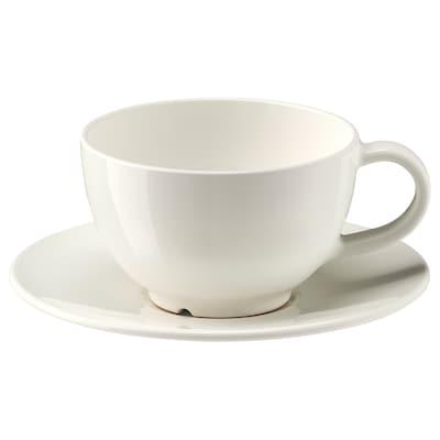 VARDAGEN 瓦达恩 茶杯和茶碟, 灰白, 26 厘升