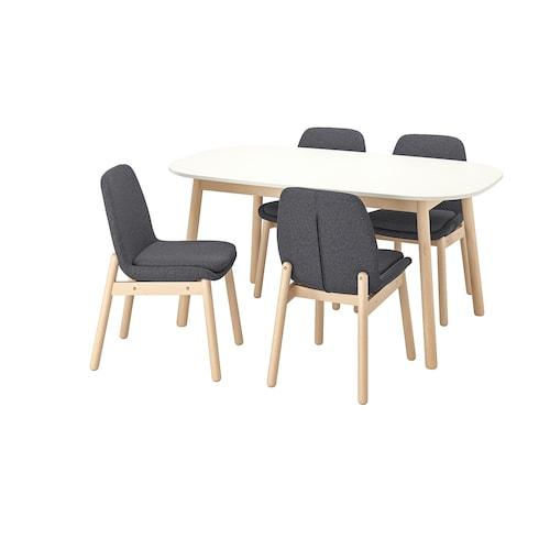 维伯 / 维伯 一桌四椅 白色/桦木 160 厘米 95 厘米