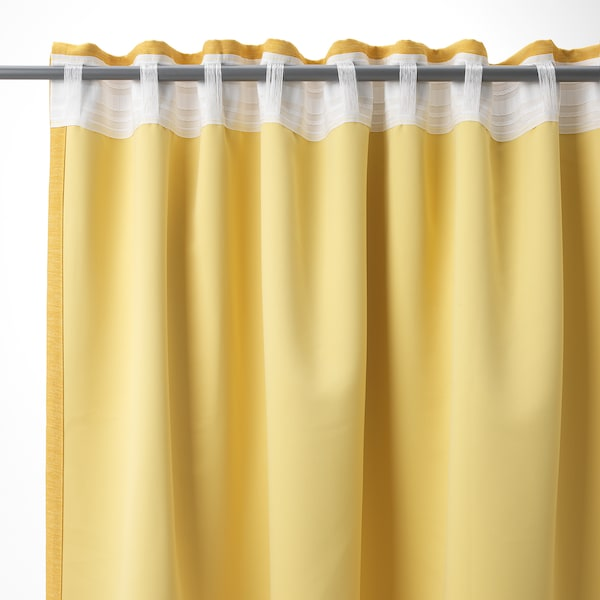 VILBORG 威尔伯 窗帘,一对, 黄色, 145x250 厘米