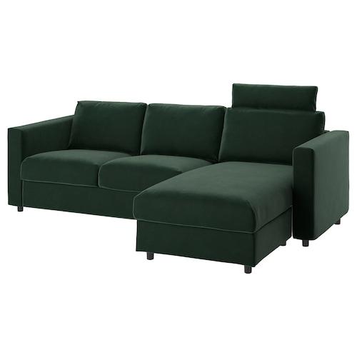维姆勒 三人沙发 带贵妃椅 带头枕/尤帕 深绿色 103 厘米 83 厘米 68 厘米 164 厘米 252 厘米 98 厘米 125 厘米 6 厘米 15 厘米 68 厘米 222 厘米 55 厘米 48 厘米
