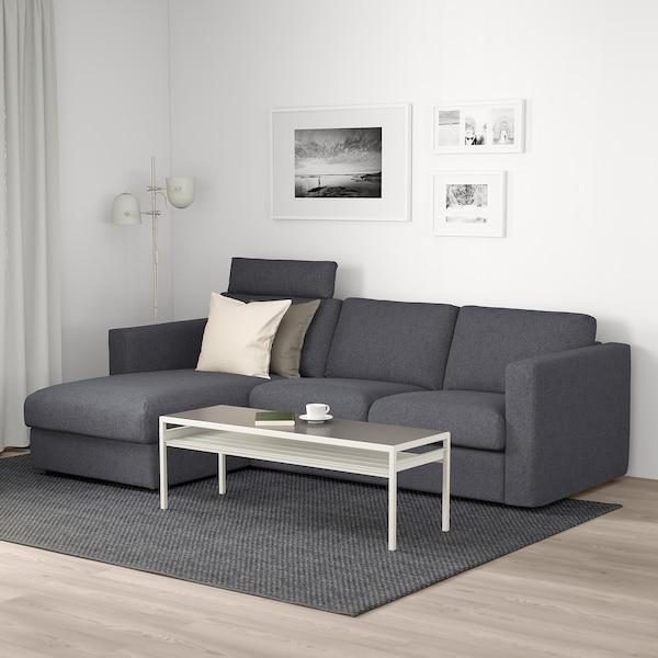 VIMLE 维姆勒 三人沙发, 带贵妃椅 带头枕/刚纳瑞德 中灰色