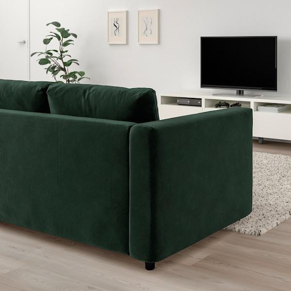 VIMLE 维姆勒 三人沙发, 带头枕/尤帕 深绿色