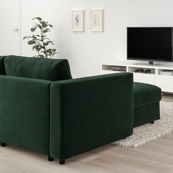 VIMLE 维姆勒 四人沙发, 带贵妃椅/尤帕 深绿色