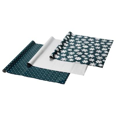 VINTER 2020 温特 2020 礼品包装, 雪花图案/星星图案 蓝色/银色, 3x0.7 米/2.10 平方米x3 件