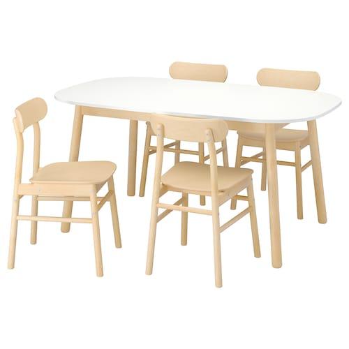 维伯 / 瑞宁 一桌四椅, 白色/桦木, 160x95 厘米