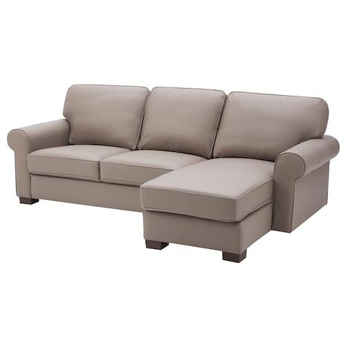 沃克托 三人沙发, 带贵妃椅/哥兰/邦斯塔 深米色