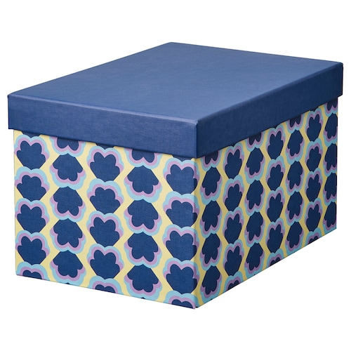 希纳 附盖储物盒, 蓝色/图案, 18x25x15 厘米