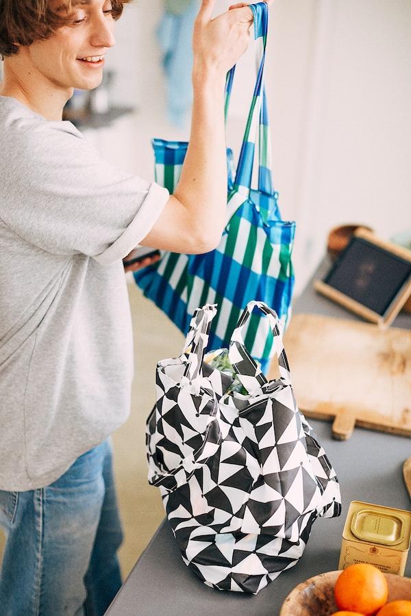 辛恩格 手提袋, 蓝色/绿色
