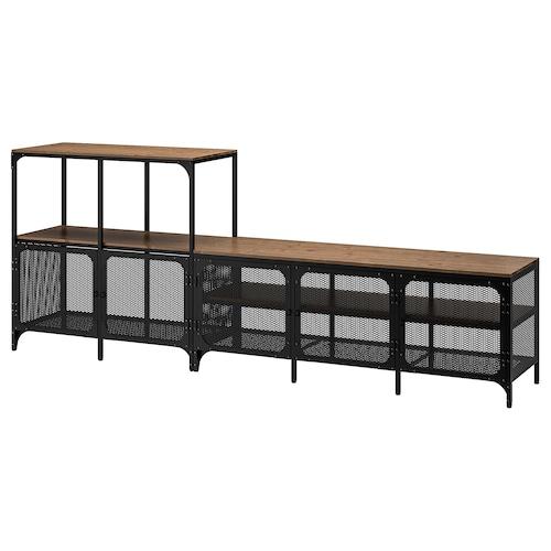 耶伯 电视机组合柜, 黑色, 250x36x95 厘米