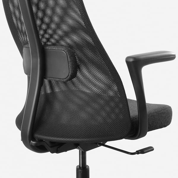 耶勒乌弗亚列特 带扶手办公椅, 刚纳瑞德 深灰色/黑色
