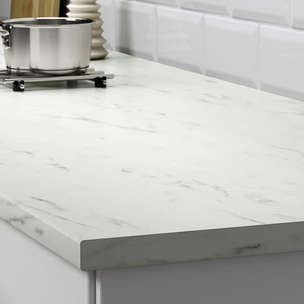 宜伯肯 操作台面, 白色 仿大理石/层压板, 186x2.8 厘米
