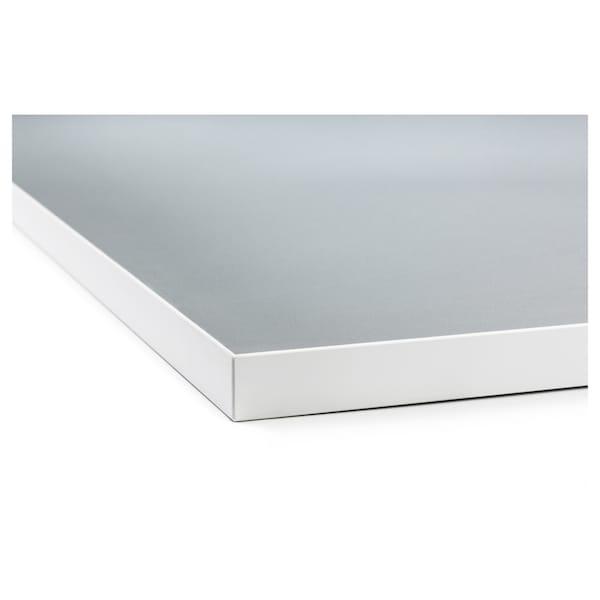 宜伯肯 双面操作台, 白边 浅灰/白/层压板, 186x2.8 厘米