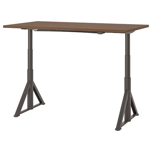 伊朵森 坐/站两用式办公桌, 褐色/深灰色, 160x80 厘米
