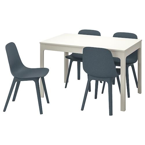 伊克多兰 / 奥德格 一桌四椅, 白色/蓝色, 120/180 厘米
