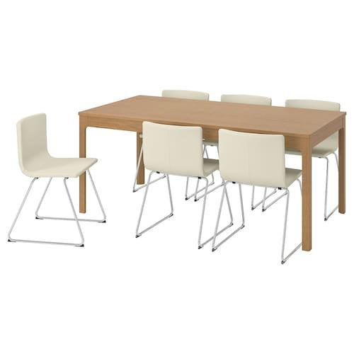 伊克多兰 / 伯恩哈德 桌子和6把椅子, 橡木/米奥 白色, 180/240 厘米