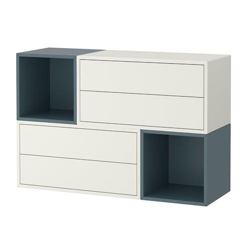 伊克特 壁柜组合, 白色/灰蓝色, 105x35x70 厘米
