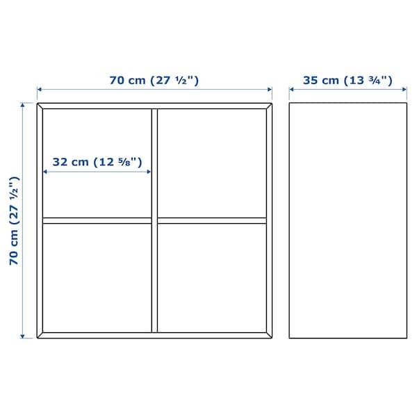 伊克特 壁装搁架单元带4个隔断, 仿白色橡木纹, 70x35x70 厘米