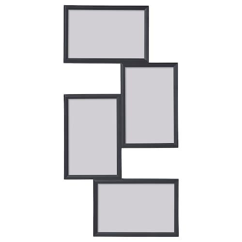 伊勒瓦 相框,放4张照片, 黑色, 21x41 厘米