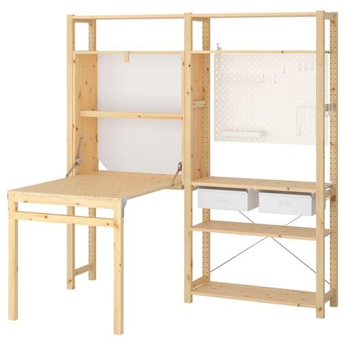 伊娃 折叠桌收纳组合, 松木/白色, 174x30-104x179 厘米