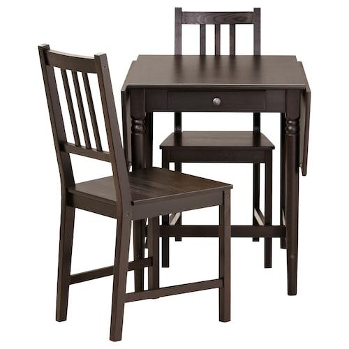 英格托 / 斯第芬 一桌二椅, 黑褐色/黑褐色, 65 厘米