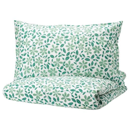 尤福布罗 被套和2个枕套, 白色/绿色, 240x220/50x80 厘米