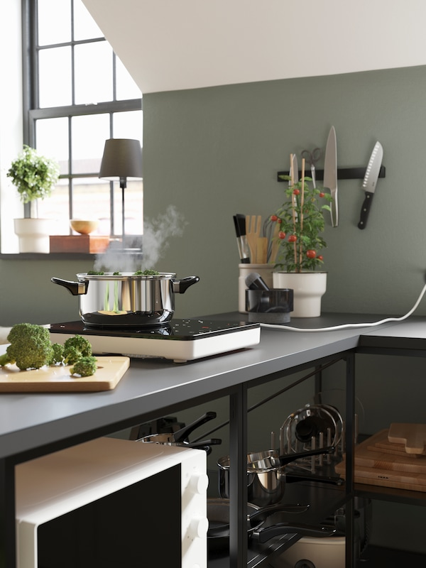 A grey worktop with a black/white portable induction hob, a pot in stainless steel, a chopping board and some broccoli.