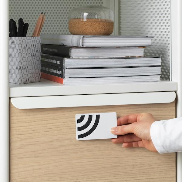 储物单元中的一个抽屉配有智能锁,一个人正拿着钥匙卡打开柜门。抽屉上方放着几本书和一个盛具。