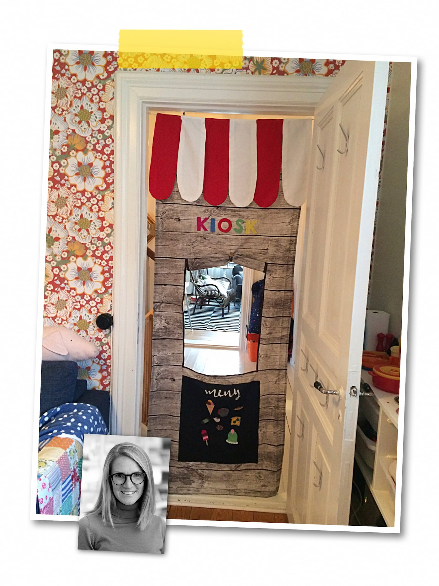 A two-image collage: a play curtain with a kiosk decor hung between two door posts, and an image of an IKEA co-worker.