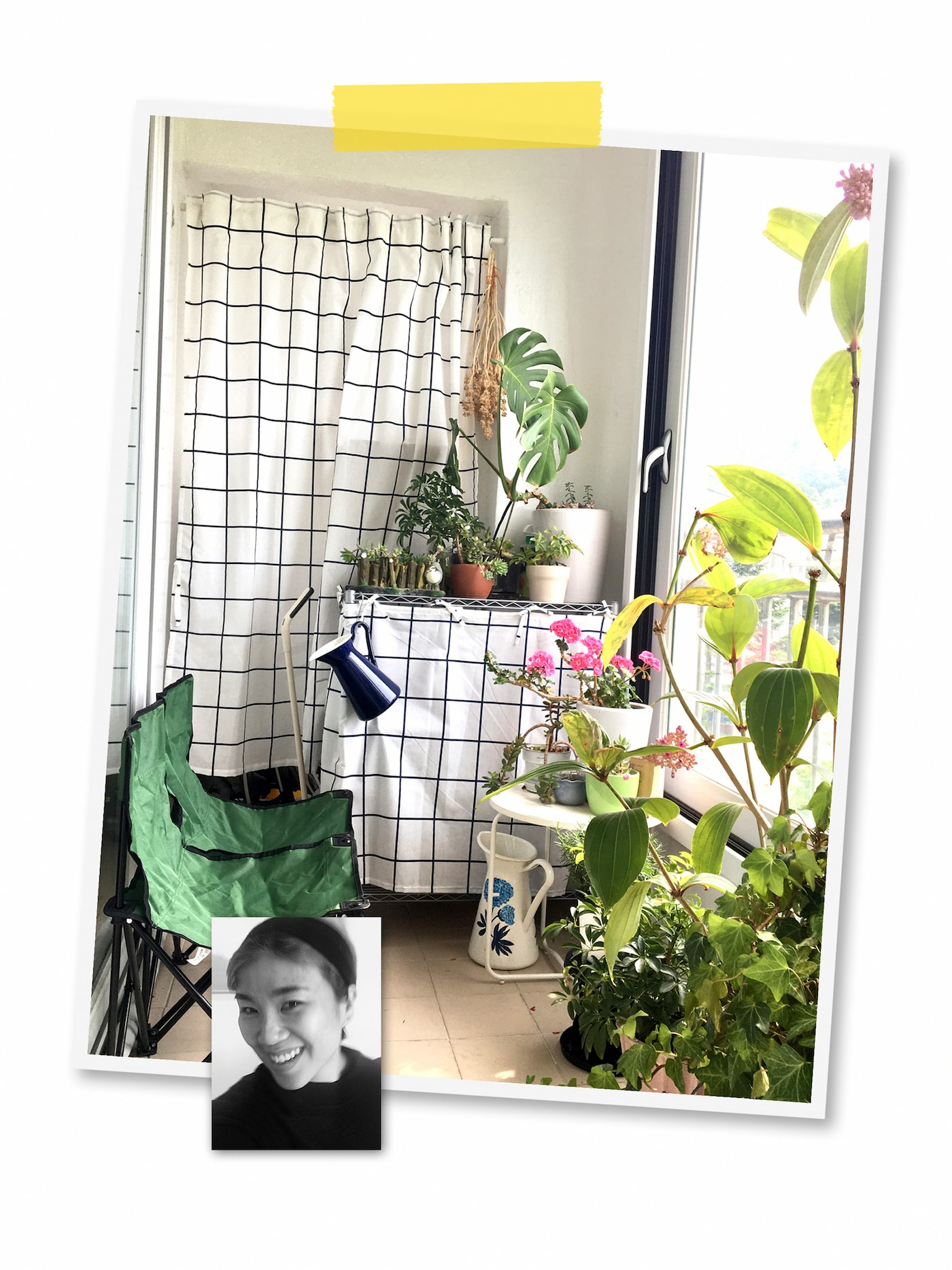 A two-image collage: a room filled with plants and shelves covered by patterned fabric, and a portrait of an IKEA co-worker.