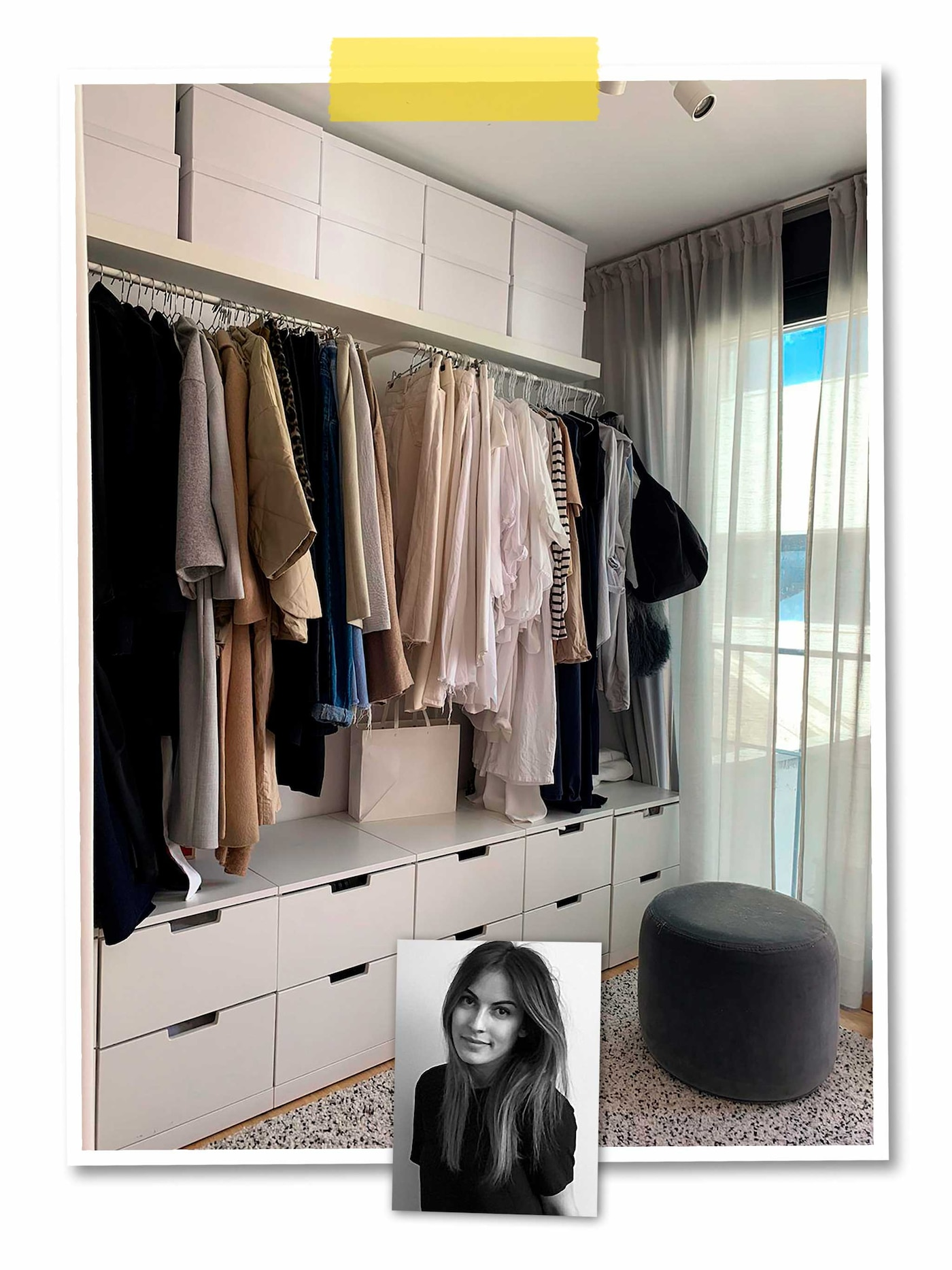 A two-image collage: a wall-wide wardrobe with a combination of open and closed storage, and an image of an IKEA co-worker.