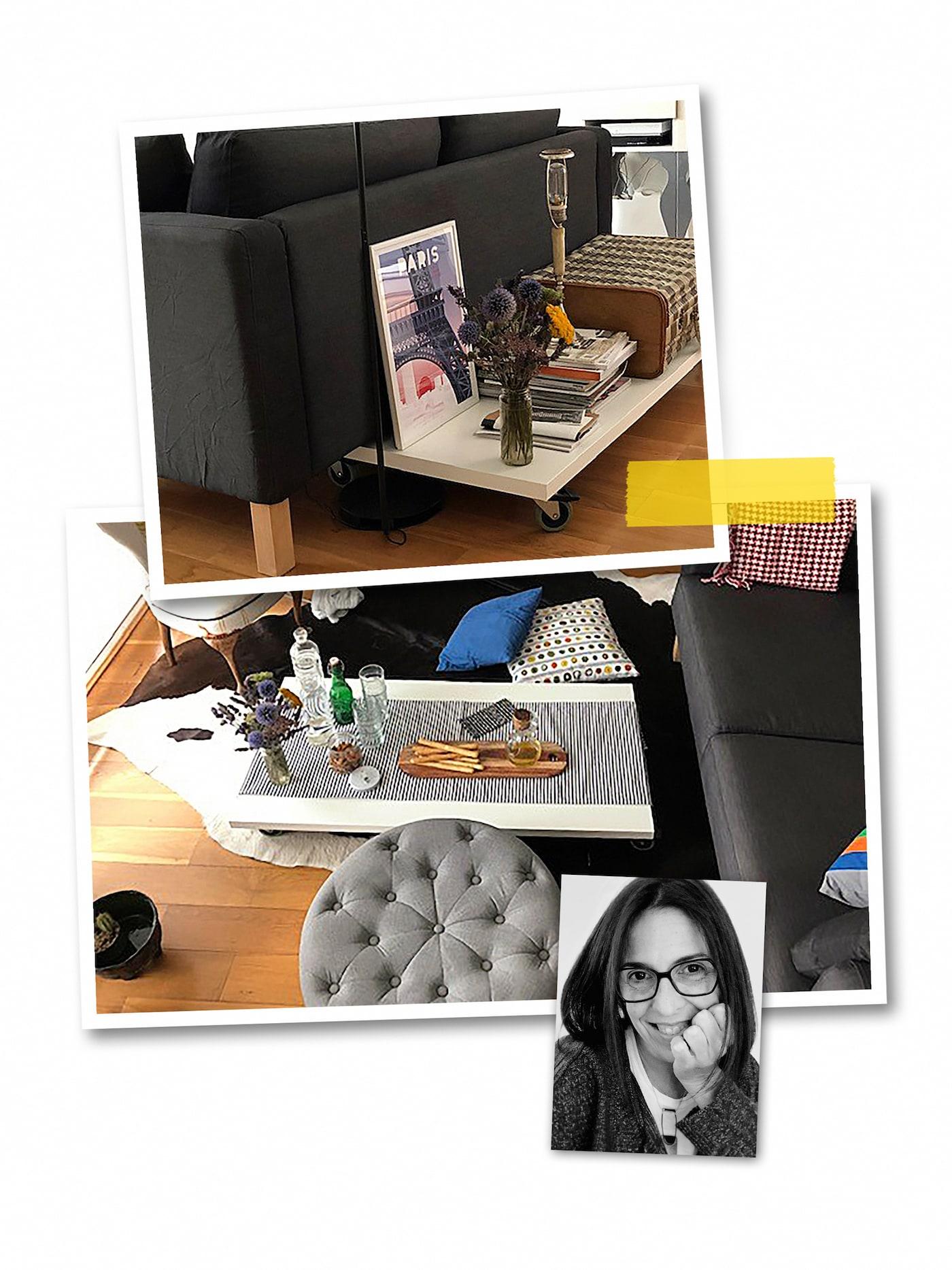 三幅照片组成的拼图:一张由白色LINNMON 利蒙 桌面和RILL 瑞尔 脚轮组合而成的茶几,以及一位宜家员工的人像写真。